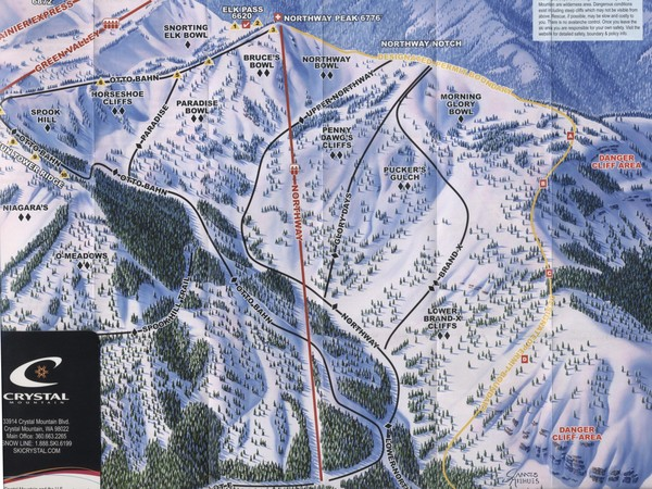 Crystal Mountain Resort Northway Inset Ski Trail Map