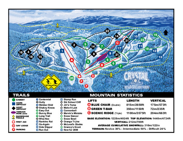 Crystal Mountain Resort Ski Trail Map