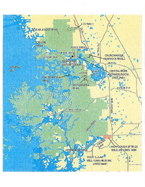 Crystal River Florida Map.Crystal River Preserve State Park Map 3266 North Sailboat Avenue