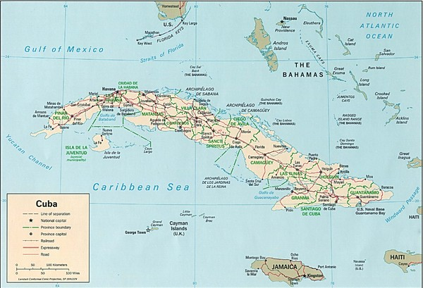 Cuba Country Tourist Map