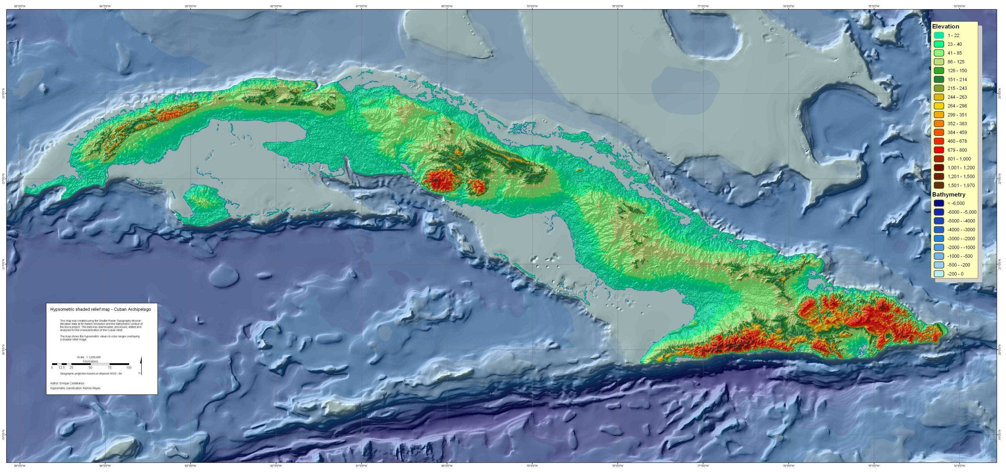 Cuba Topography Map • mappery