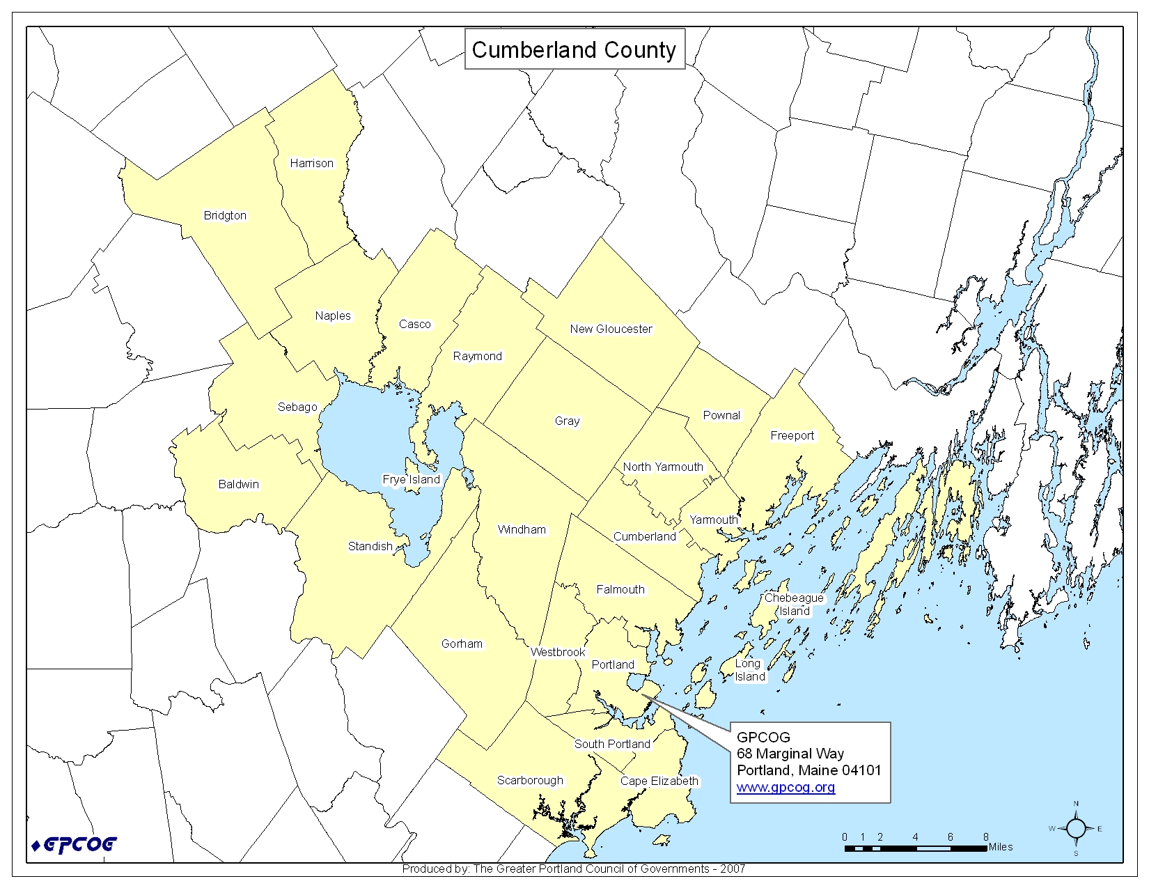 Cumberland County Map Cumberland Maine USA Mappery - Map of maine usa
