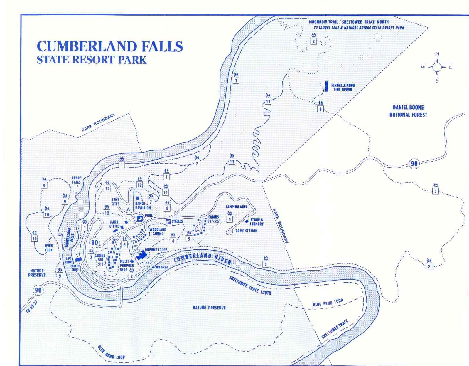 Cumberland Falls State Resort Park Map Cumberland Falls ky mappery