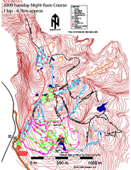 Cypress Mountain Tuesday Night Race Course Ski Trail Map