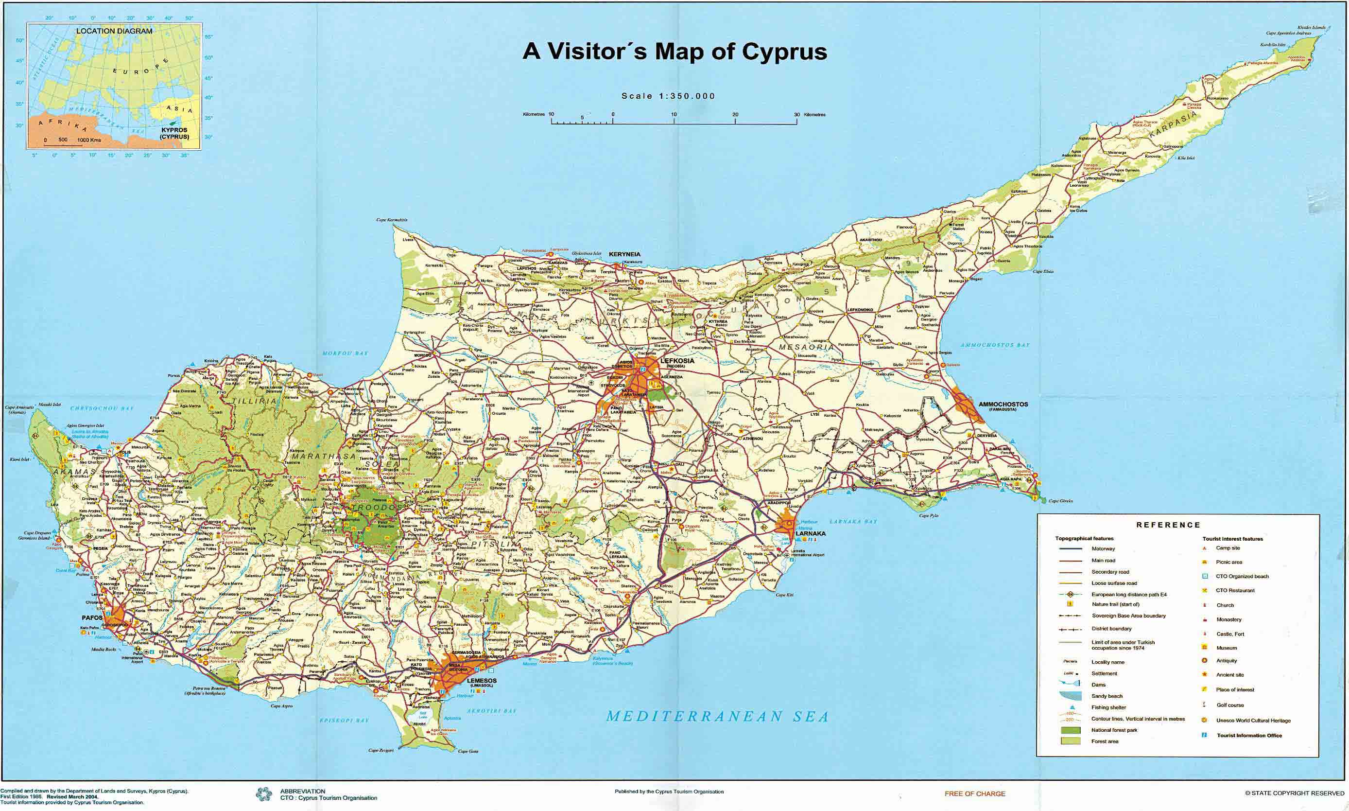 Cyprus Tourist Map Cyprus Mappery - Cyprus map
