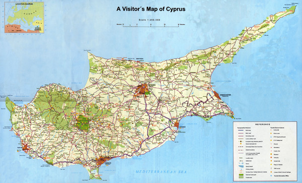 map of cyprus mediterranean. Tourist map of Cyprus. From paphosfinder.com