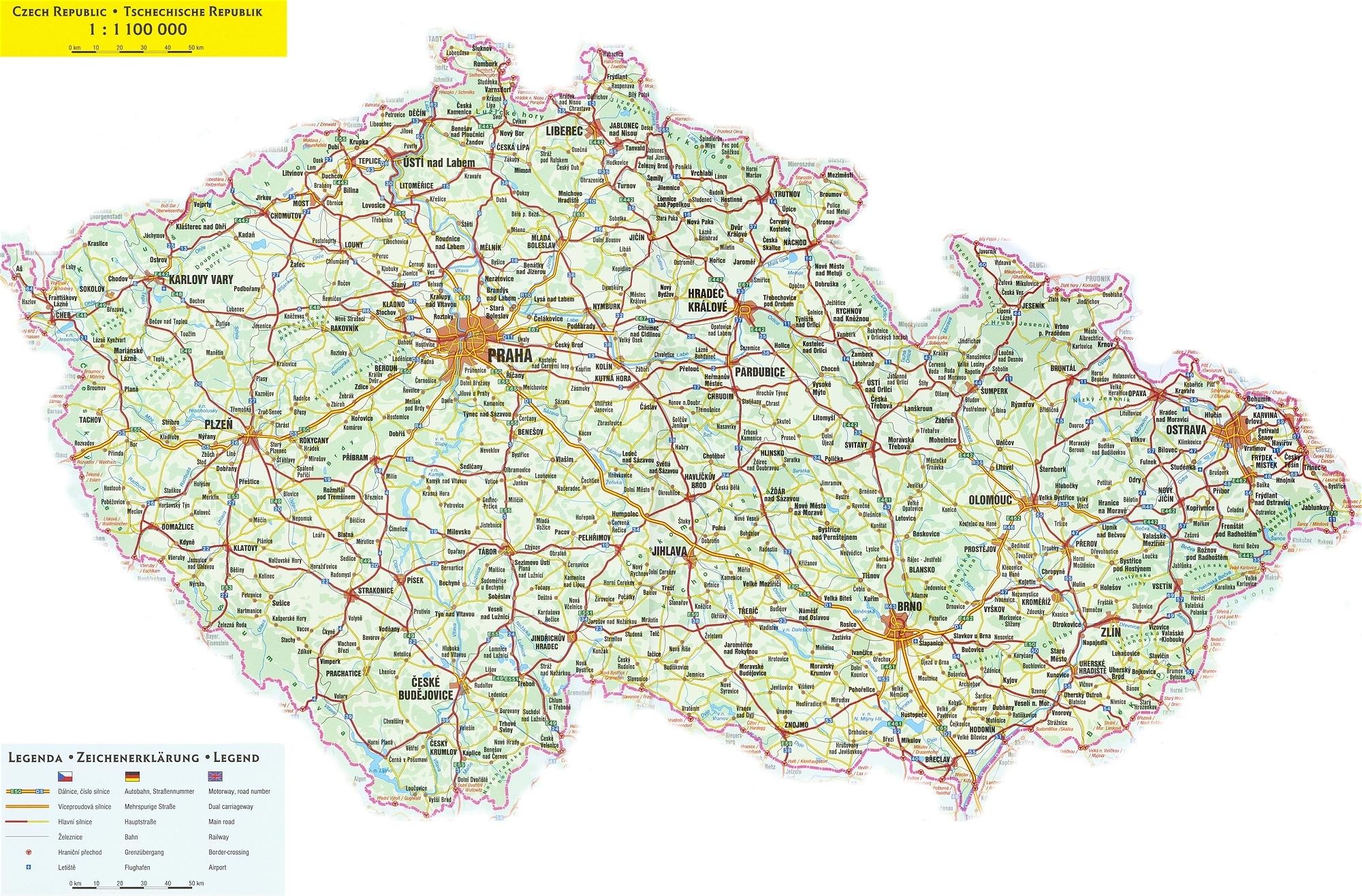 Czech Republic Road Map Czech Republic mappery