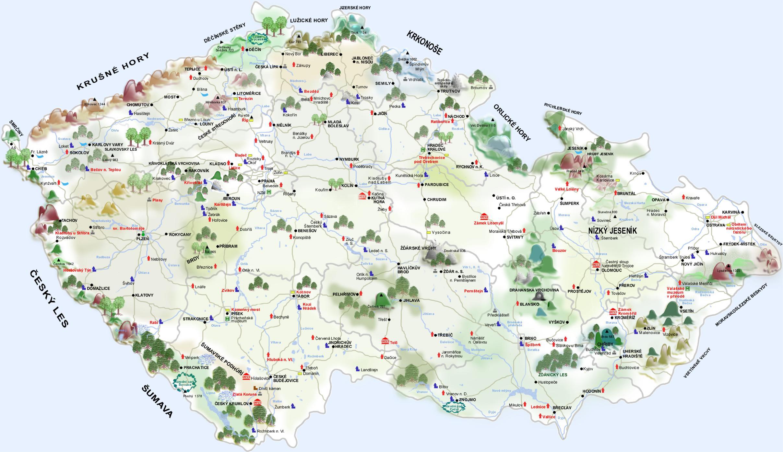 Czech Republic Tourist Map Czech Republic mappery