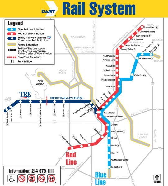 Map Of Texas Railroads.Dart Rail System Map Dallas Tx Mappery