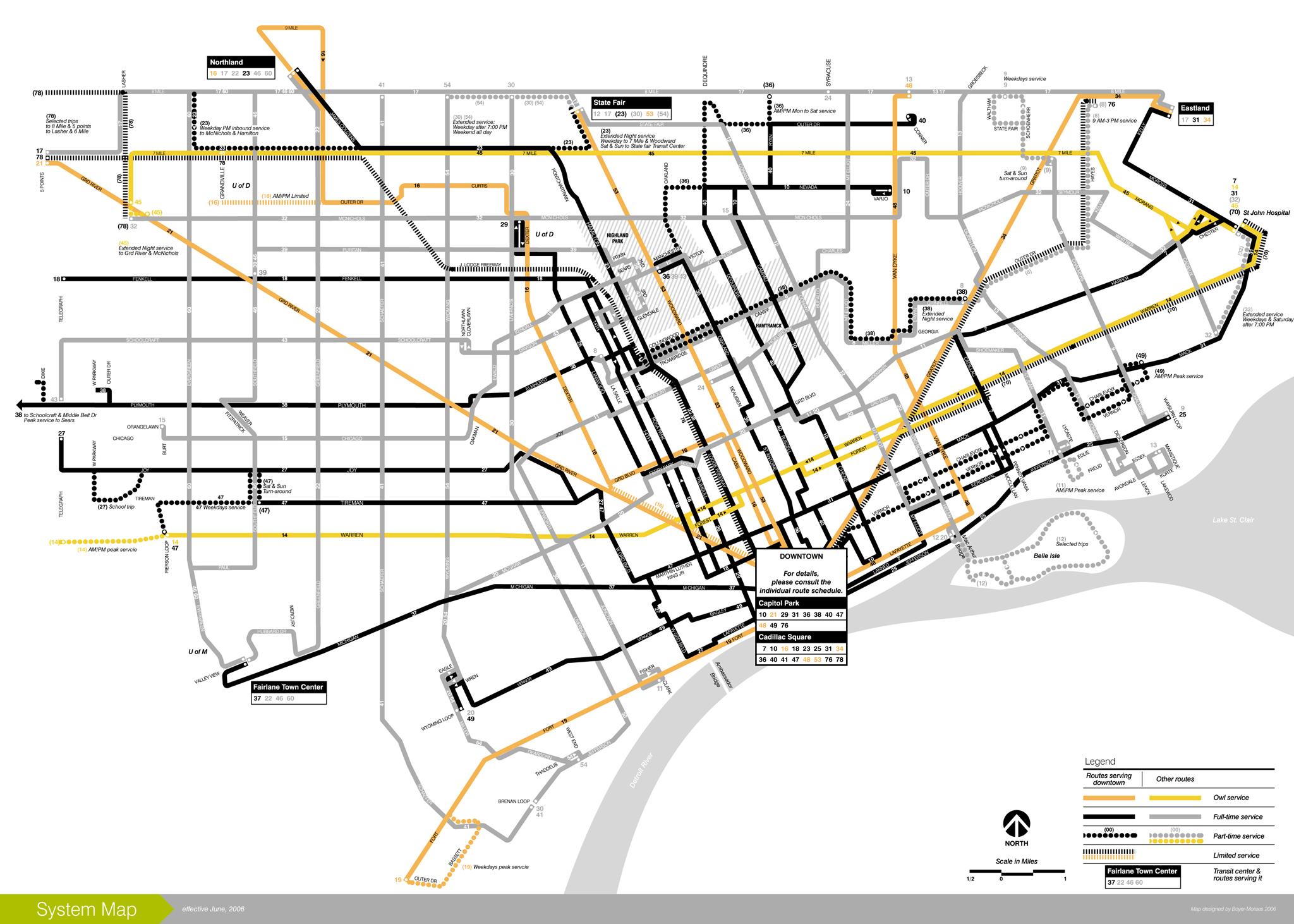 DDOT 2006 System Map - Detroit Michigan • mappery