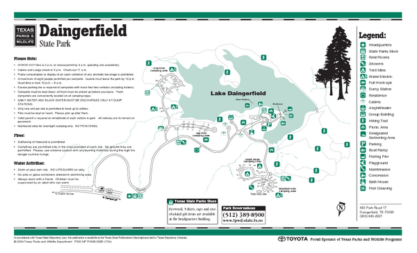 Daingerfield, Texas State Park Facility and Trail Map