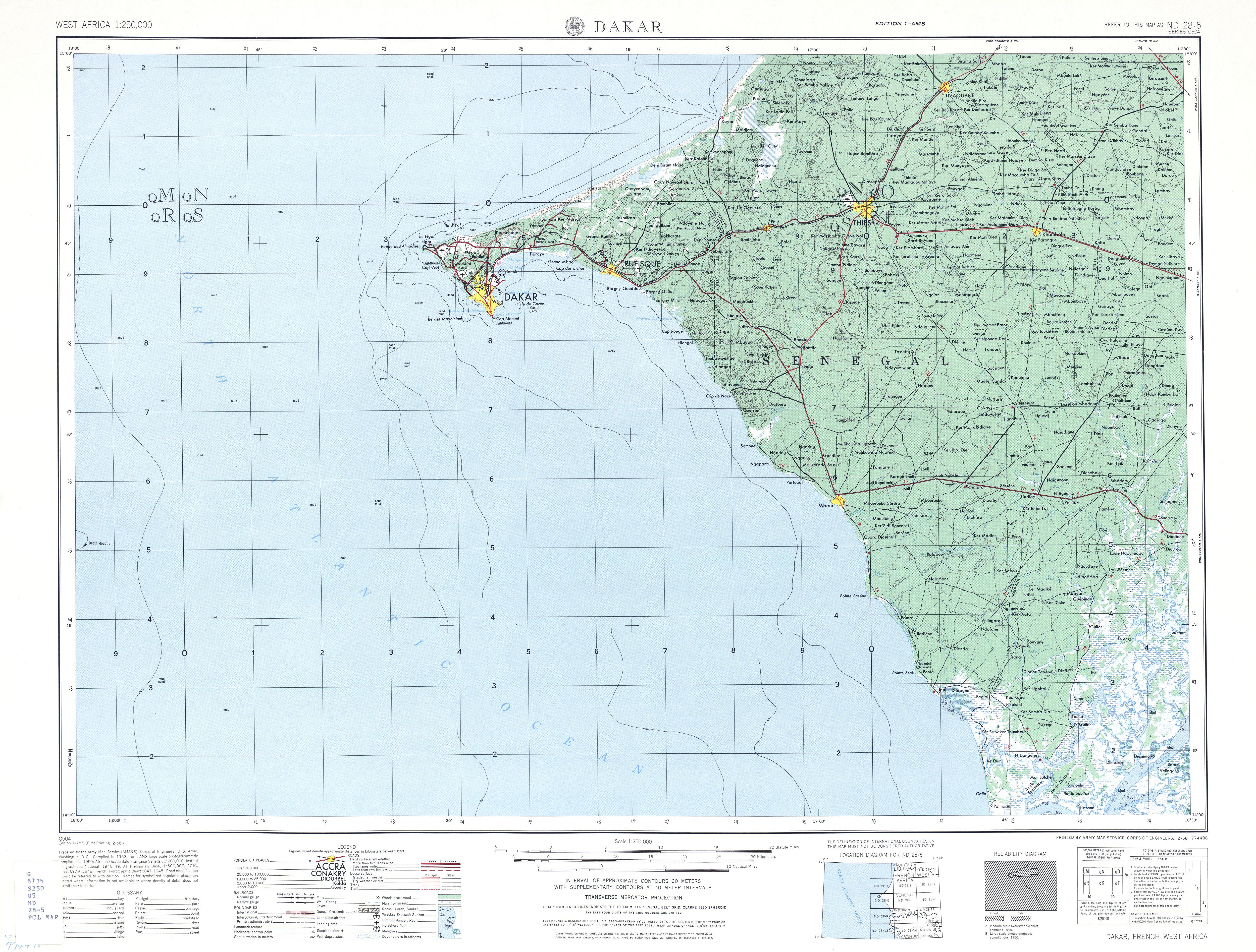 Dakar Topo Map Dakar Senegal mappery