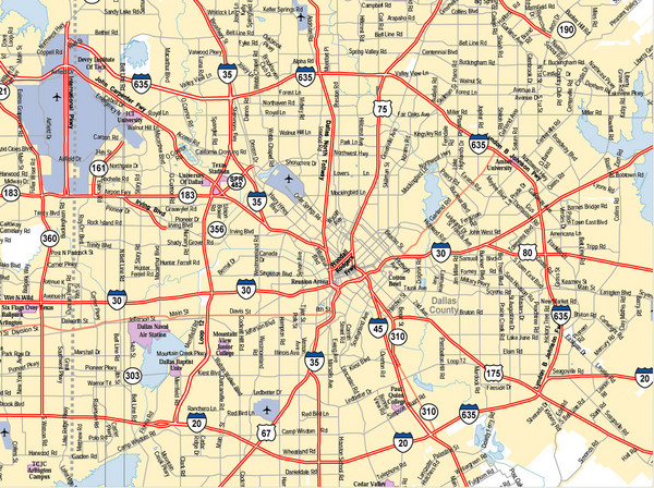 Dallas Texas City Map Dallas Texas USA Mappery - Detailed map of texas cities and towns