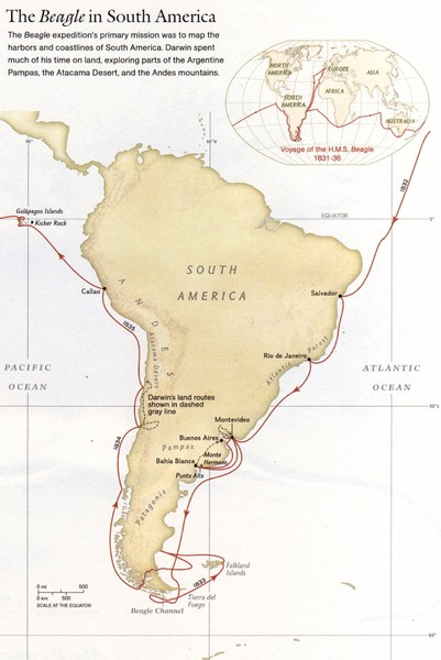 Darwin's South American Voyages 1831/36 Map
