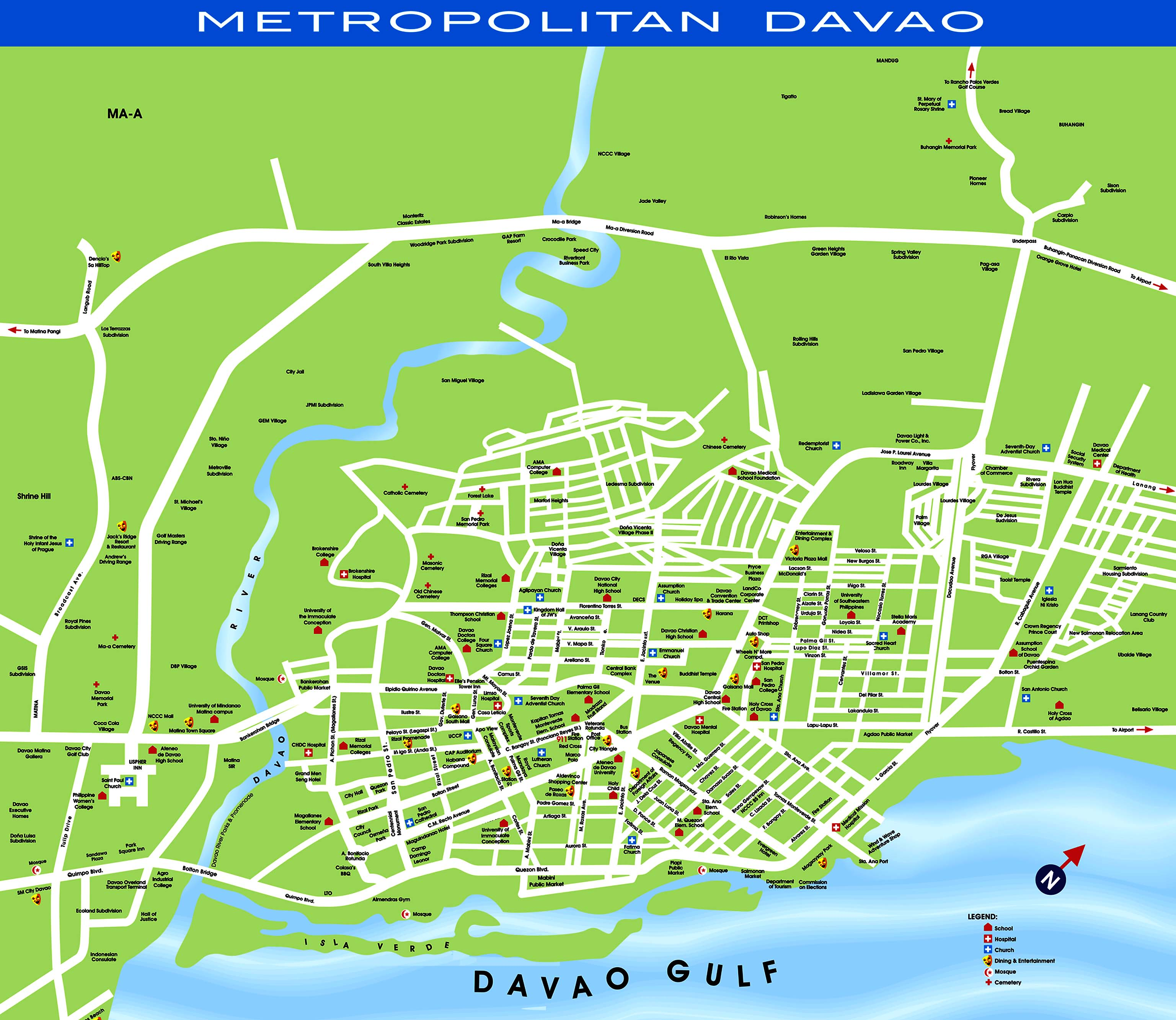 Davao Tourist Map Davao Phillipines mappery