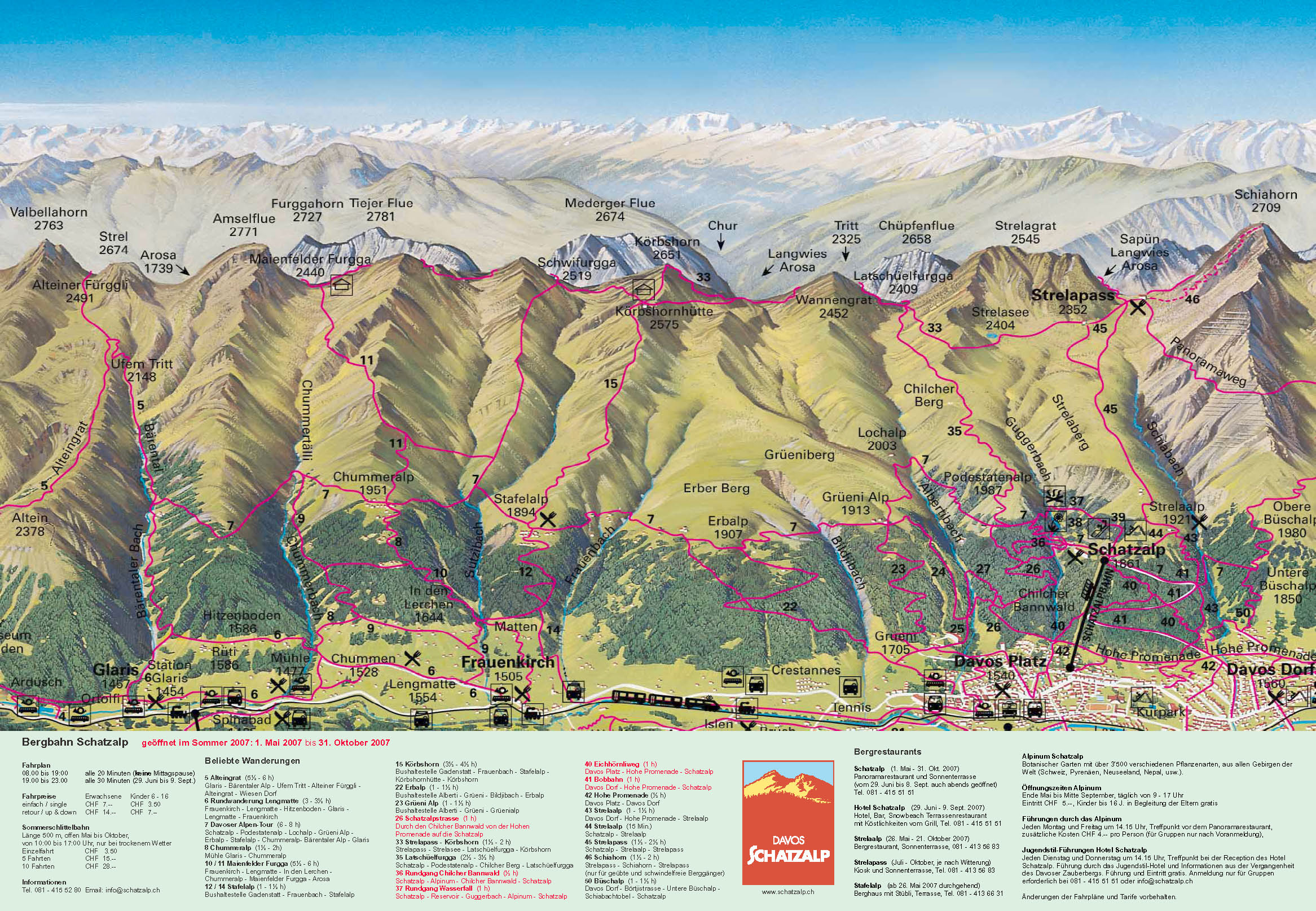 Davos Schatzalp Summer Trail Map Davos Switzerland mappery
