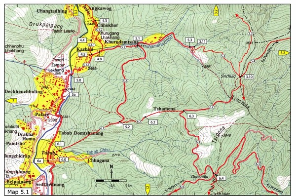 Dechencholing to Sinchula, Thimphu Map