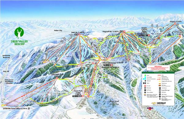 Deer Valley Ski Trail Map Park City UT 84060 mappery