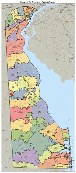 Delaware Zip Code Map Delaware Mappery