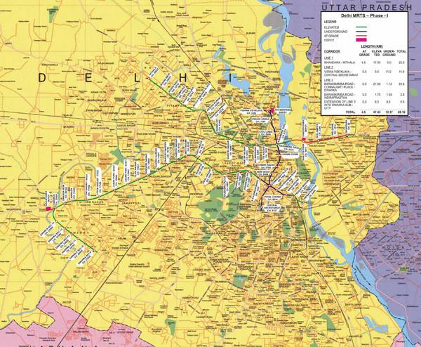 Delhi Metro Map New Delhi India Mappery