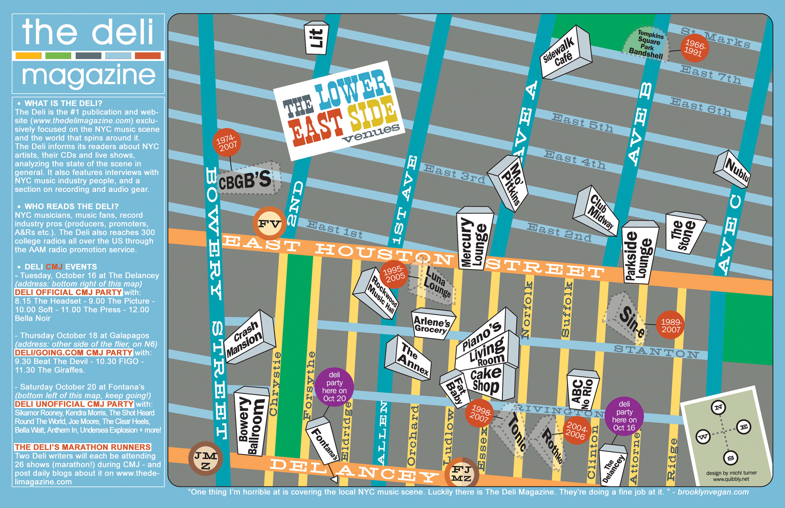 Deli Magazines Lower East Side Music venues Map - Lower East ...