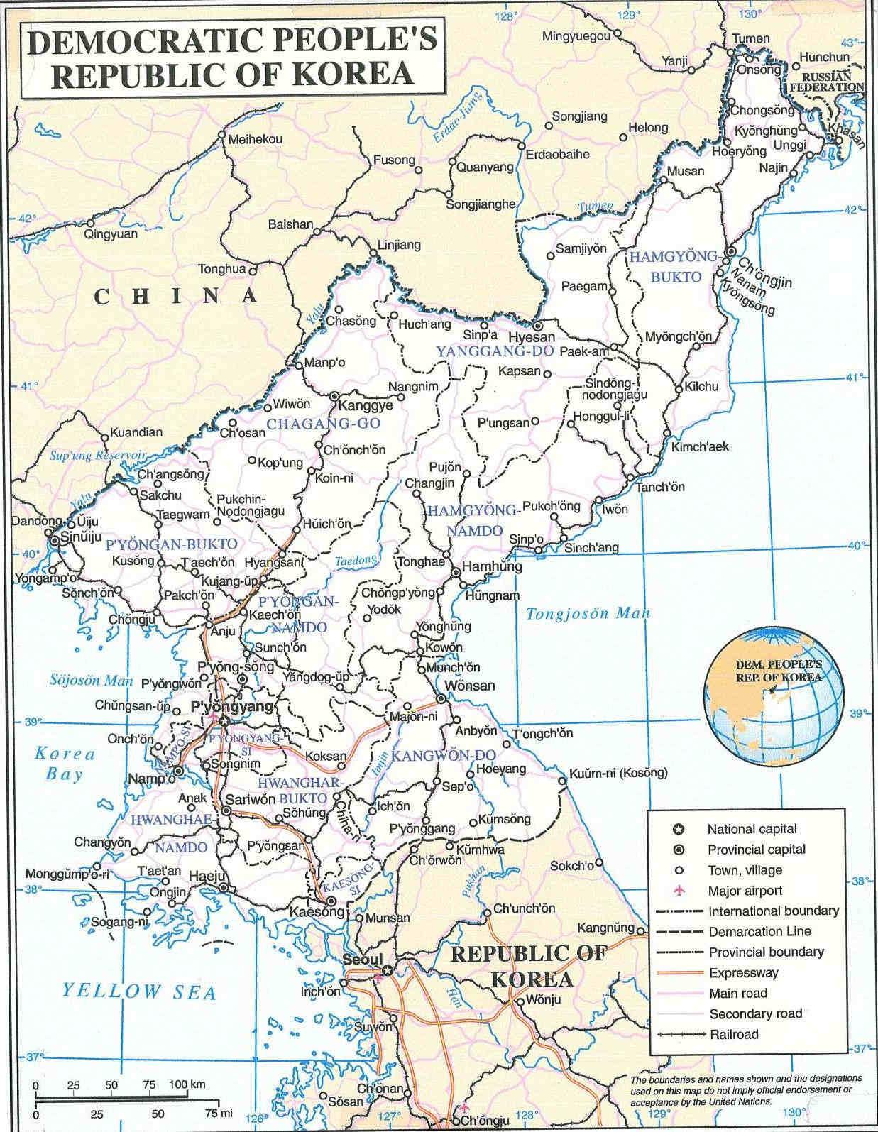 Democratic Peoples Republic of Korea Map North Korea mappery