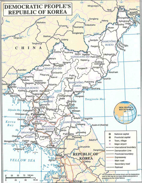 north korea map outline. Map of the DPRK (North Korea)