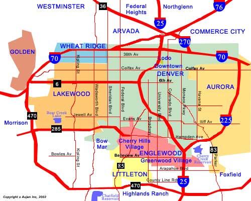 Denver Neighborhoods Map Denver Mappery - Denver map