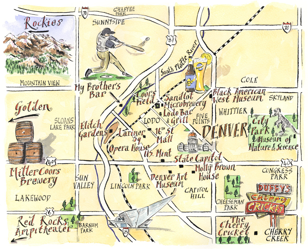 denver tourist illustrated map • mappery -