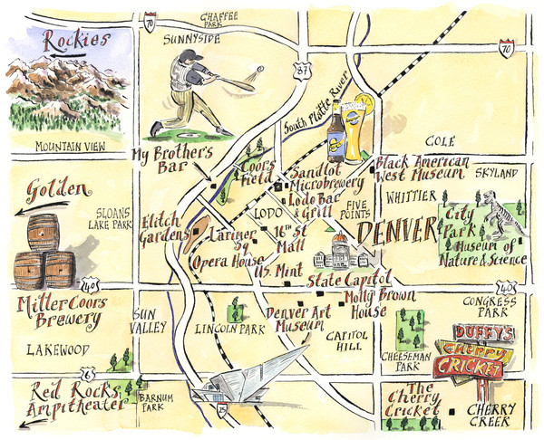 Denver Tourist Illustrated map • mappery