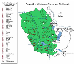 Desolation Wilderness, Lake Tahoe, California Map
