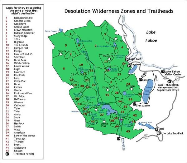 Desolation Wilderness Permits Zone Map - Desolation Wilderness ... on