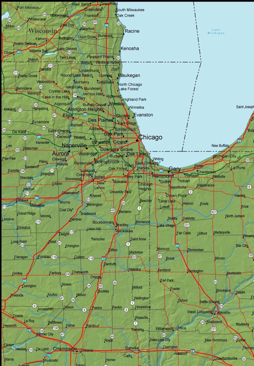 Detailed Indiana Area Road Map Indiana Mappery - Indiana road map