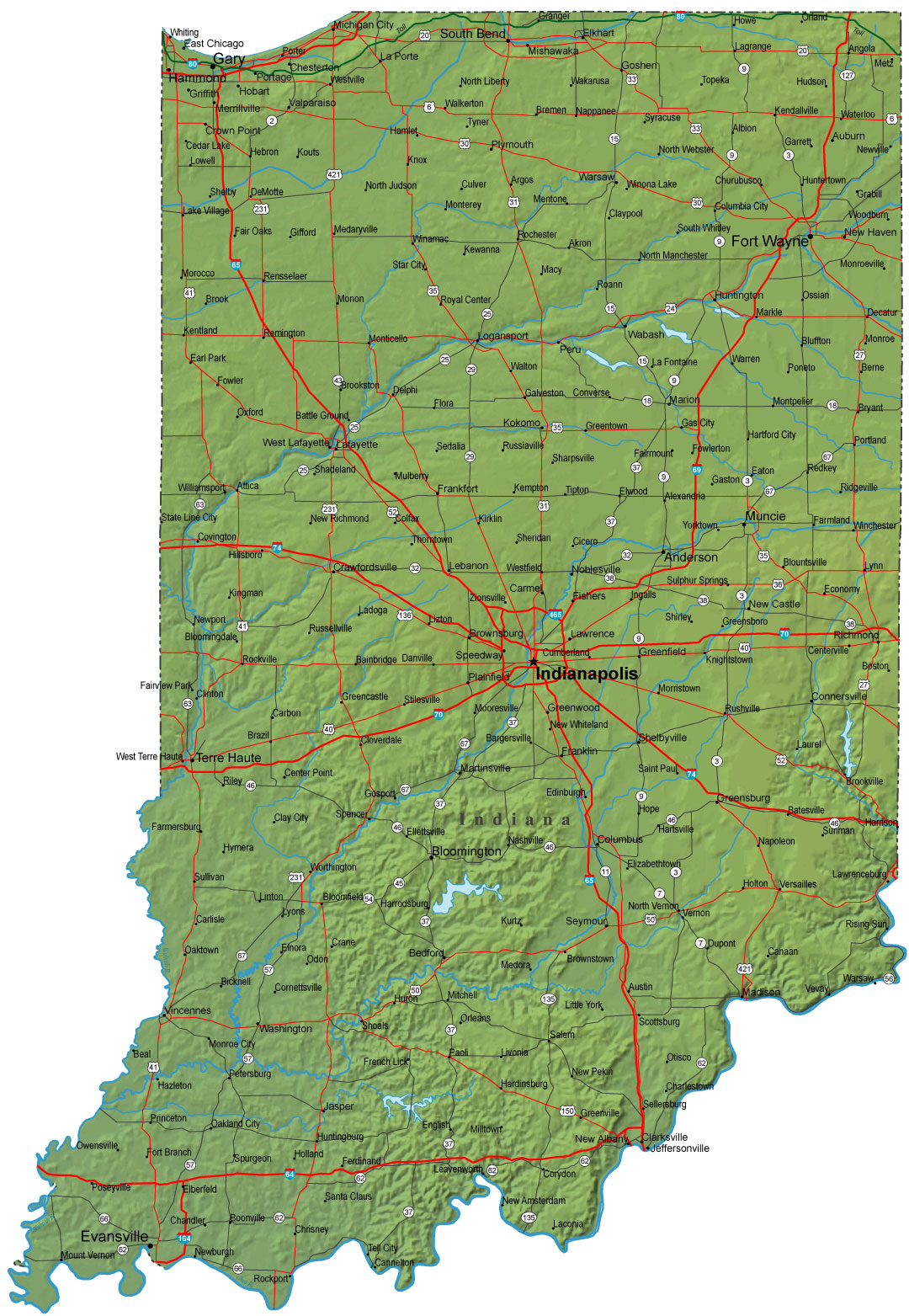 Detailed Indiana Road Map Indiana Mappery - Road map of indiana