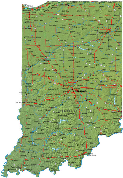 Detailed Indiana Road Map
