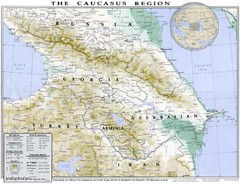 Detailed map of Caucasus region
