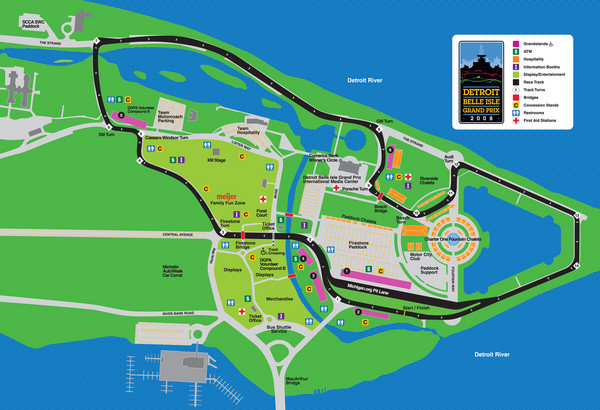 Detroit Belle Isle Grand Prix Map