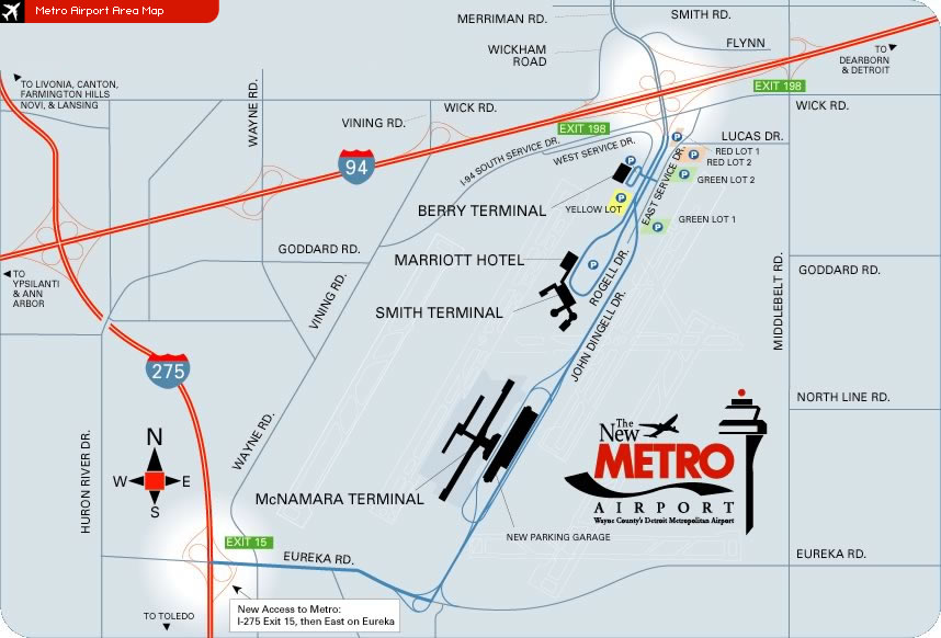 Detroit Metro Airport Area Map  DTW  Mappery