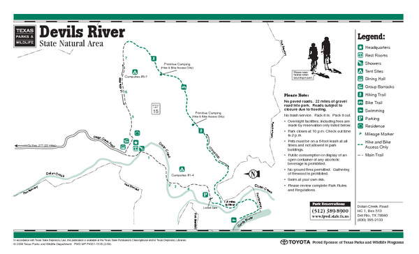 Devil's River, Texas State Park Facility and Trail Map