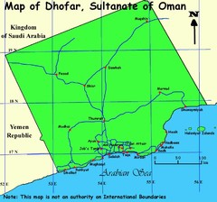 Dhofar region Oman Map