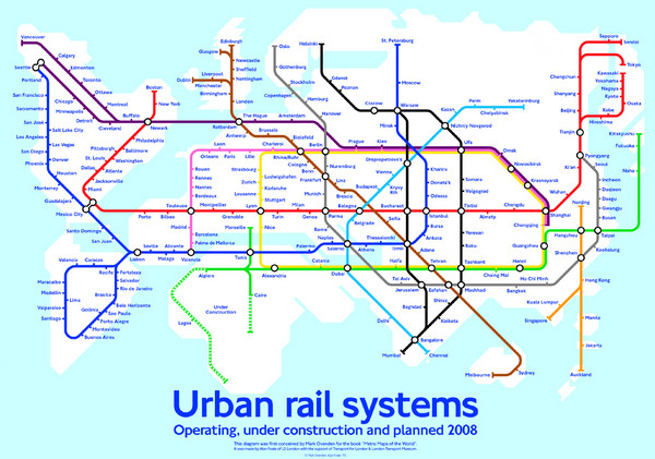 Diagram linking cities with Urban rail systems Map