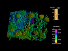 Digital Elevation Map of Lunar South Pole