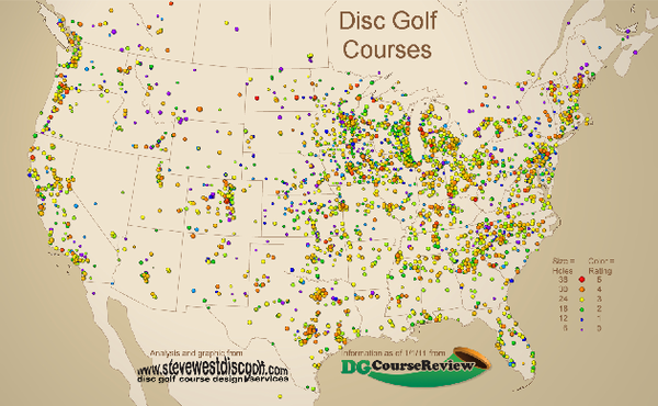 Disc Golf Courses Map Mappery - Us golf course map