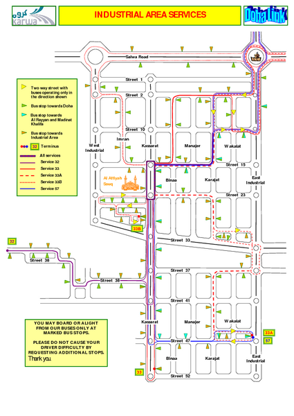 Doha Industrial Bus Route Map Doha Qatar mappery