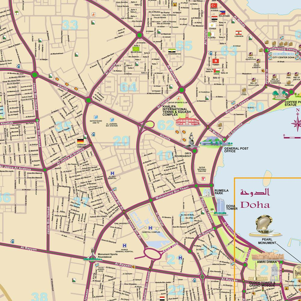Doha detailed city Map mappery