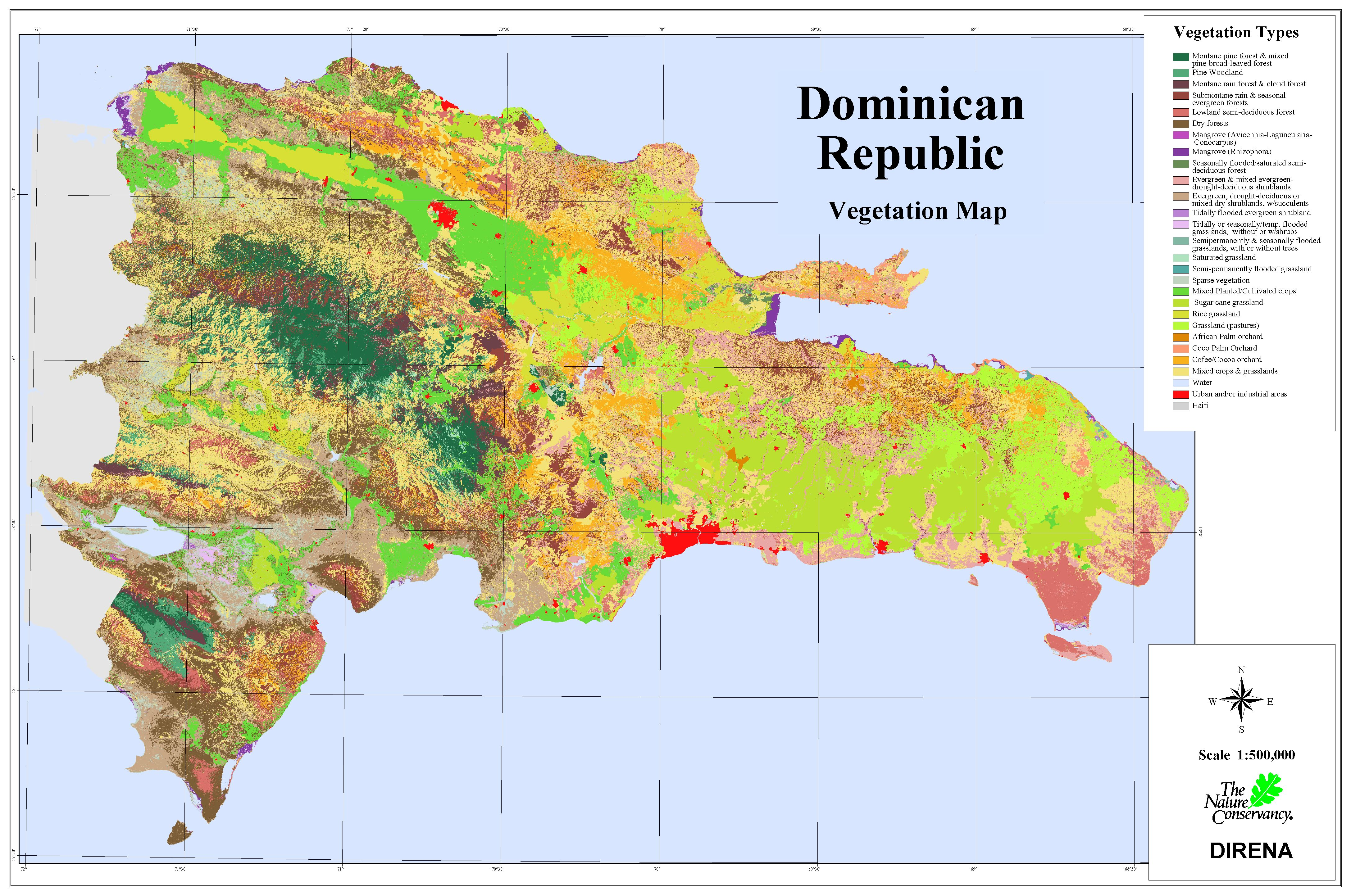 Dominican Republic Vegetation Map Dominican Republic Mappery - Map of the dominican republic
