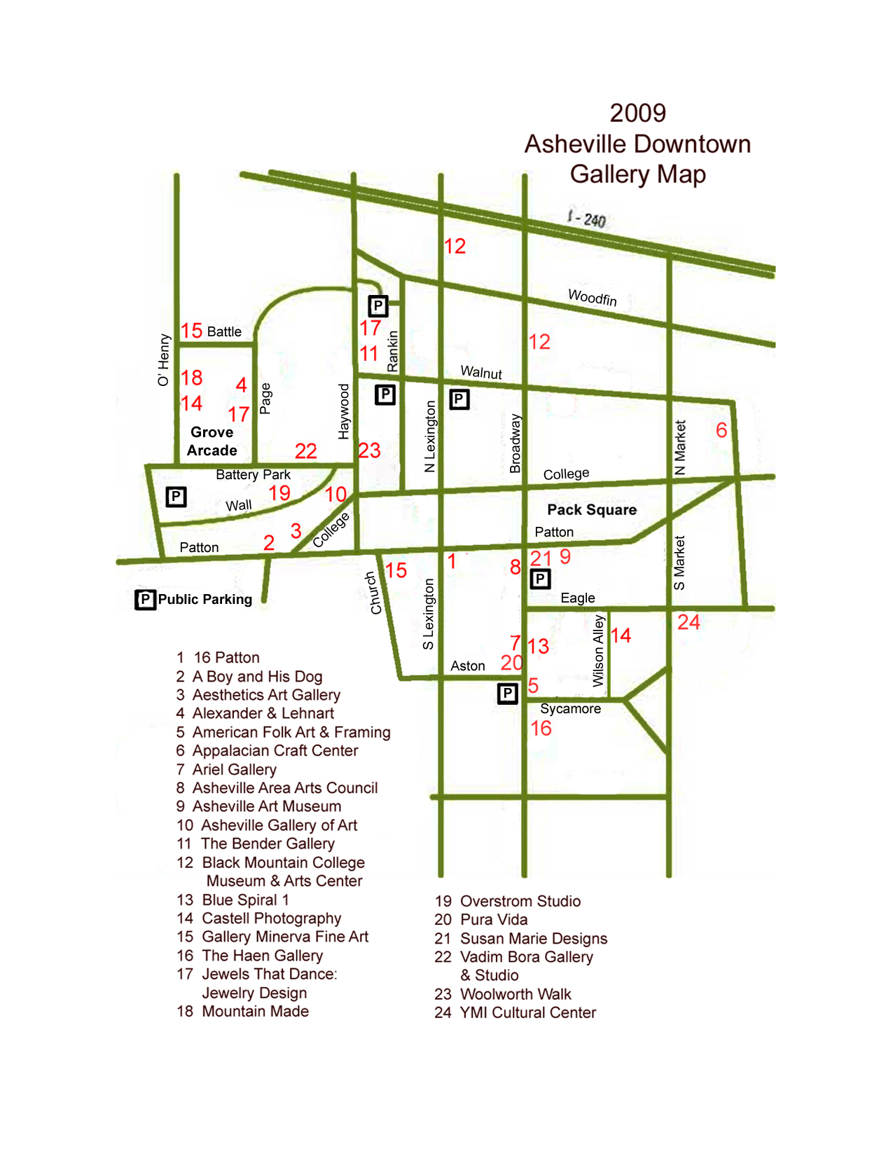 Downtown Asheville Galleria Map 56 Broadway St Downtown Asheville