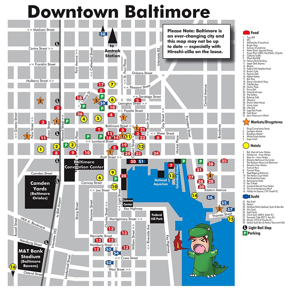 Downtown Baltimore Map Downtown Baltimore Tourist Map   Baltimore Maryland • mappery