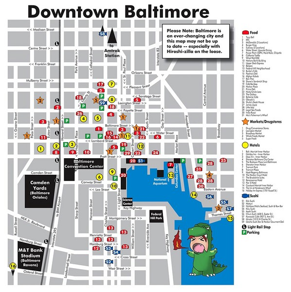 Downtown Baltimore Tourist Map Baltimore Maryland mappery – Maryland Tourist Attractions Map