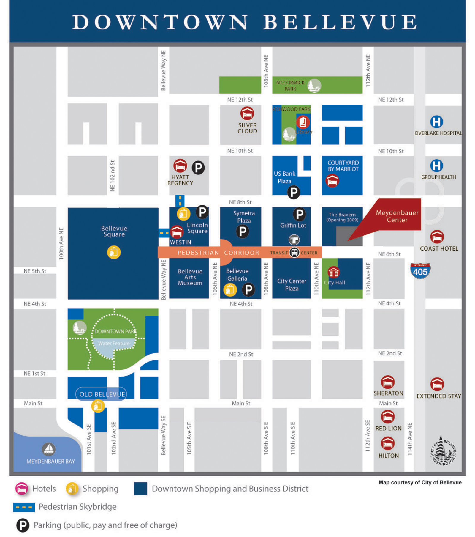 Downtown Bellevue Map - Downtown Bellevue WA USA • mappery on